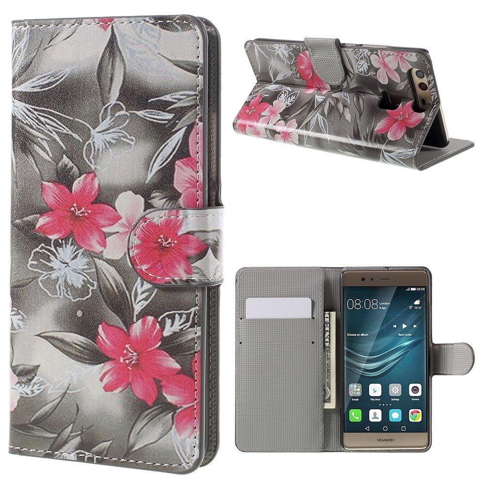 Image of Huawei P9 Læder Design Flip Cover M. Stand og Kortholder - Red Blooming Flowers