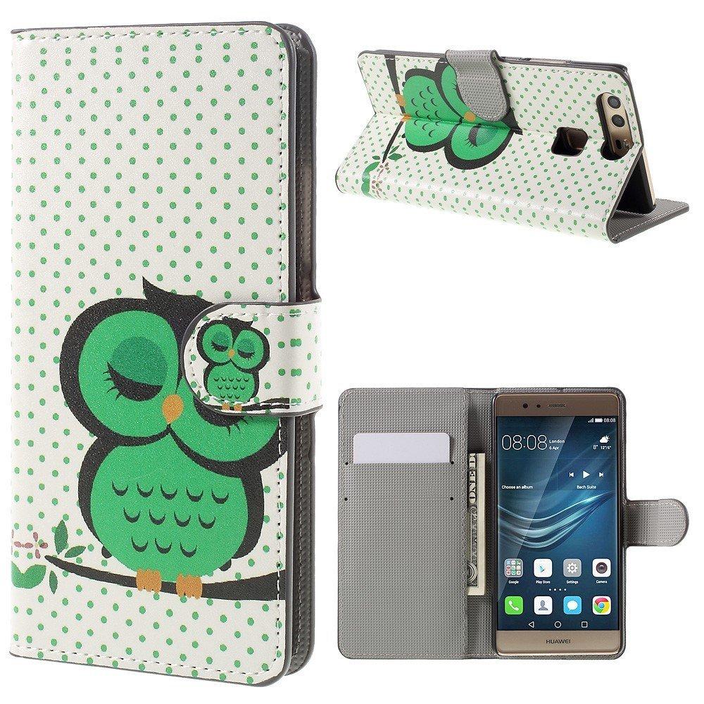 Image of Huawei P9 Læder Design Flip Cover M. Stand og Kortholder - Green Owl Napping
