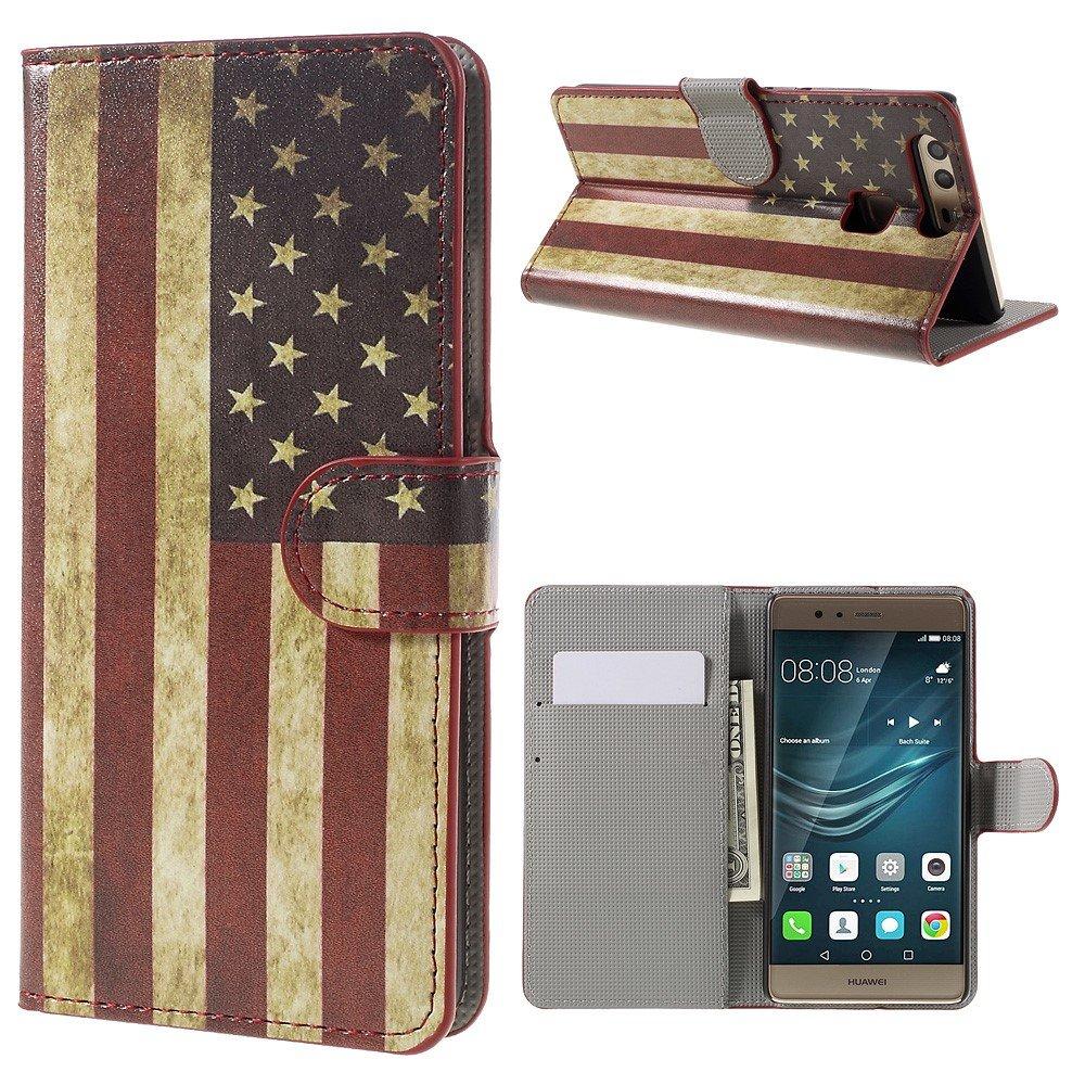 Image of Huawei P9 Læder Design Flip Cover M. Stand og Kortholder - Vintage US American Flag
