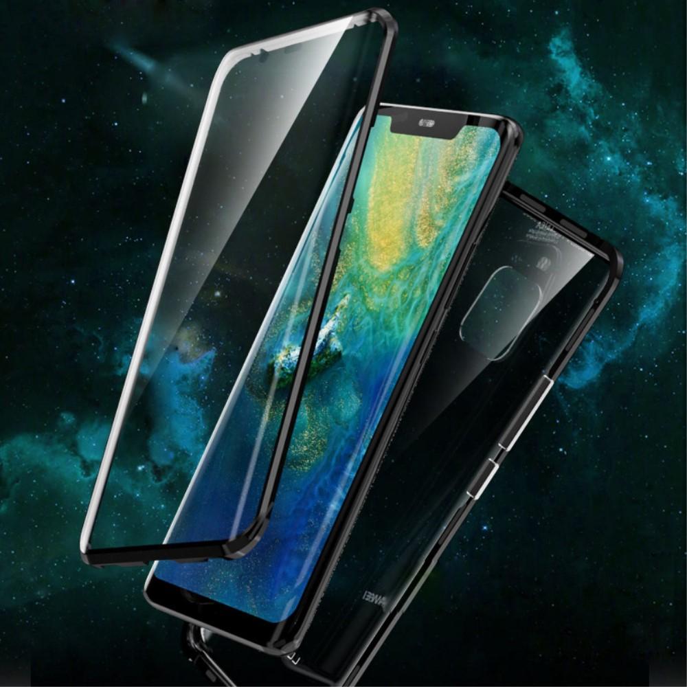 Image of   Huawei Mate 20 Pro Magnetisk Metalramme m. Glas For- og Bagside - Sort