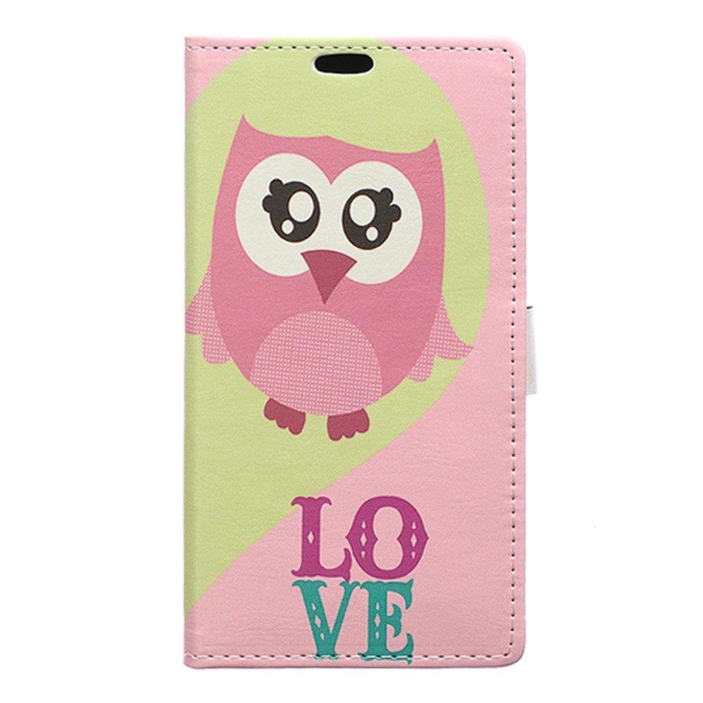Billede af Huawei Honor 8 PU læder FlipCover m. Kortholder - Pink Owl