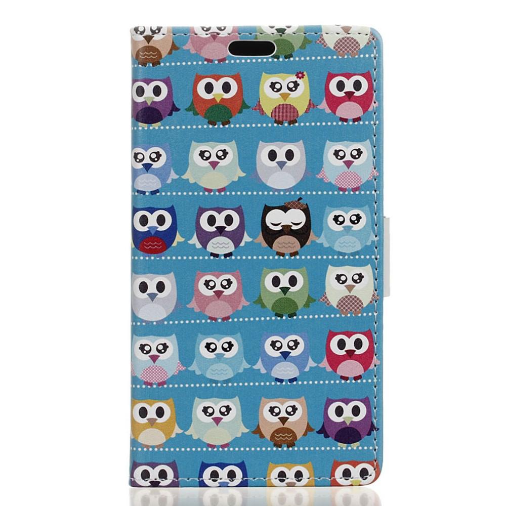 Billede af Huawei Honor 8 PU læder FlipCover m. Kortholder - Blue Lovely Owls