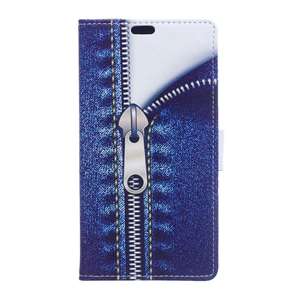 Billede af Huawei Honor 8 PU læder FlipCover m. Kortholder - Jeans with Zipper