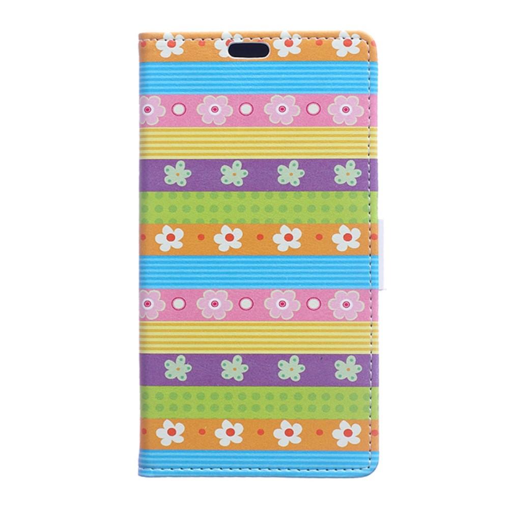 Billede af Huawei Honor 8 PU læder FlipCover m. Kortholder - Colorful Stripes and Flowers