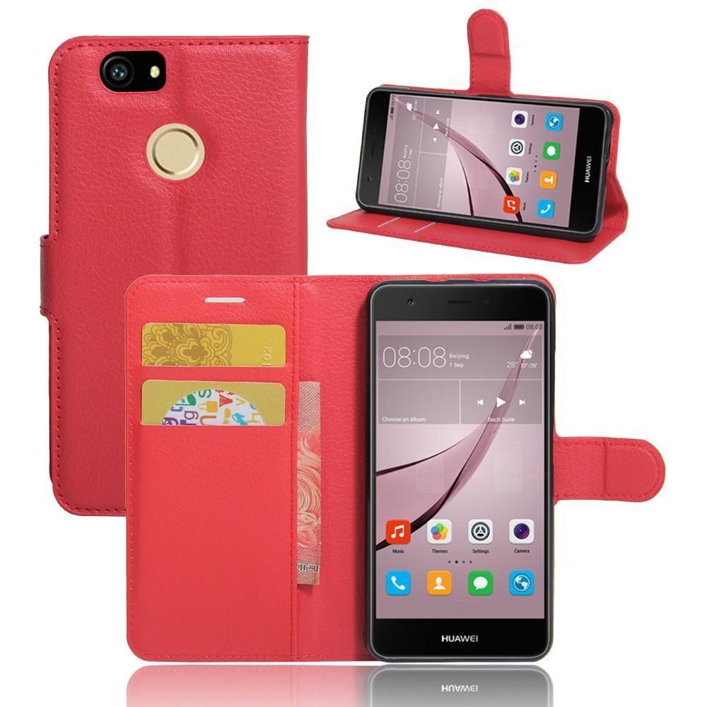 Billede af Huawei Nova PU Læder FlipCover m. Kortholder - Rød