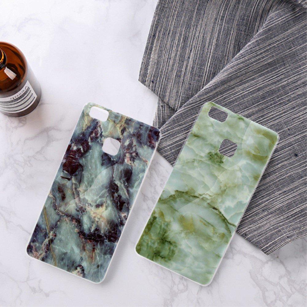 Image of Huawei P9 Lite InCover Premium Marmor TPU Cover - Sort/Blå