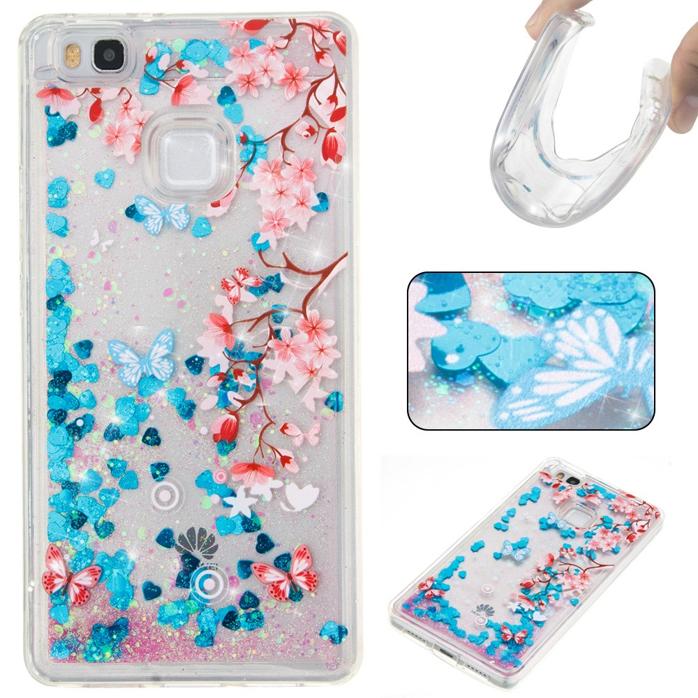 Billede af Huawei P9 Lite InCover Glossy Liquid TPU Cover - Blue Flowers and Butterflies