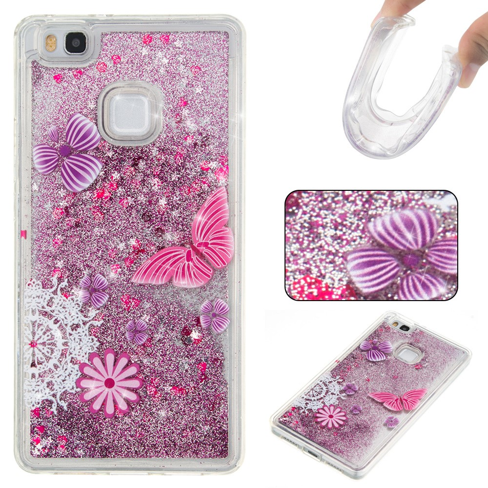 Billede af Huawei P9 Lite InCover Glossy Liquid TPU Cover - Purple Flowers and Butterflies