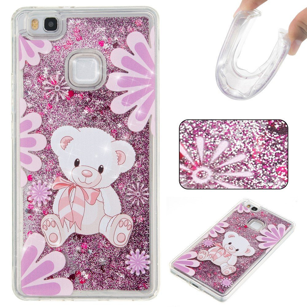 Billede af Huawei P9 Lite InCover Glossy Liquid TPU Cover - Purple Bear and Flowers