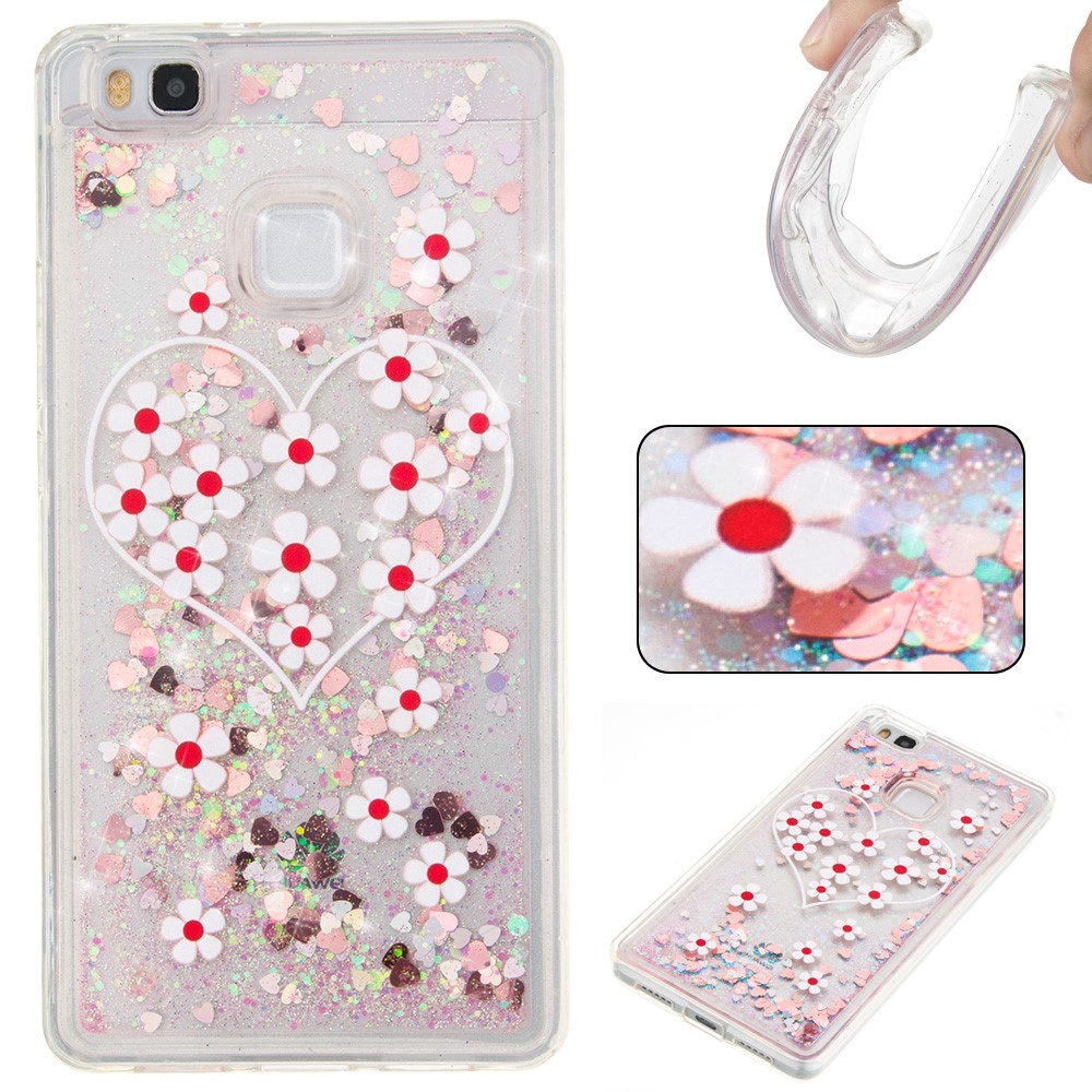 Billede af Huawei P9 Lite InCover Glossy Liquid TPU Cover - Pink Flower and Heart