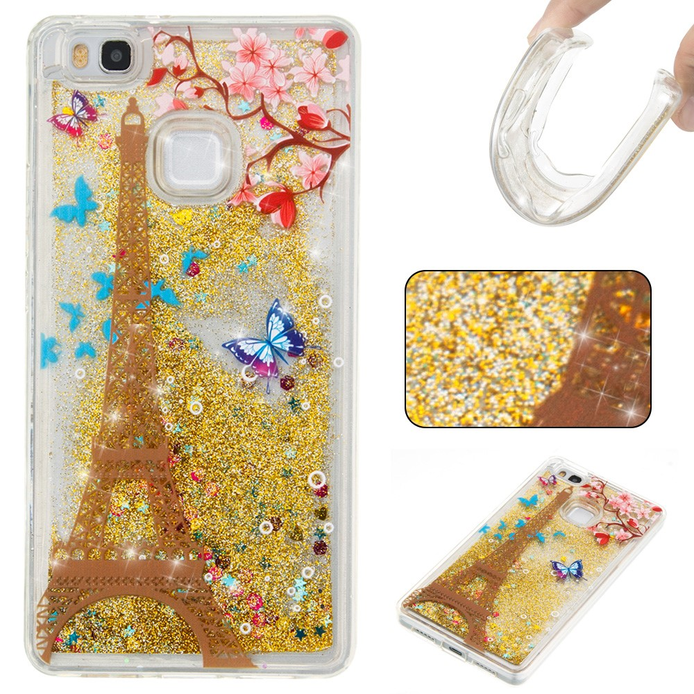 Billede af Huawei P9 Lite InCover Glossy Liquid TPU Cover - Gold Eiffel Tower