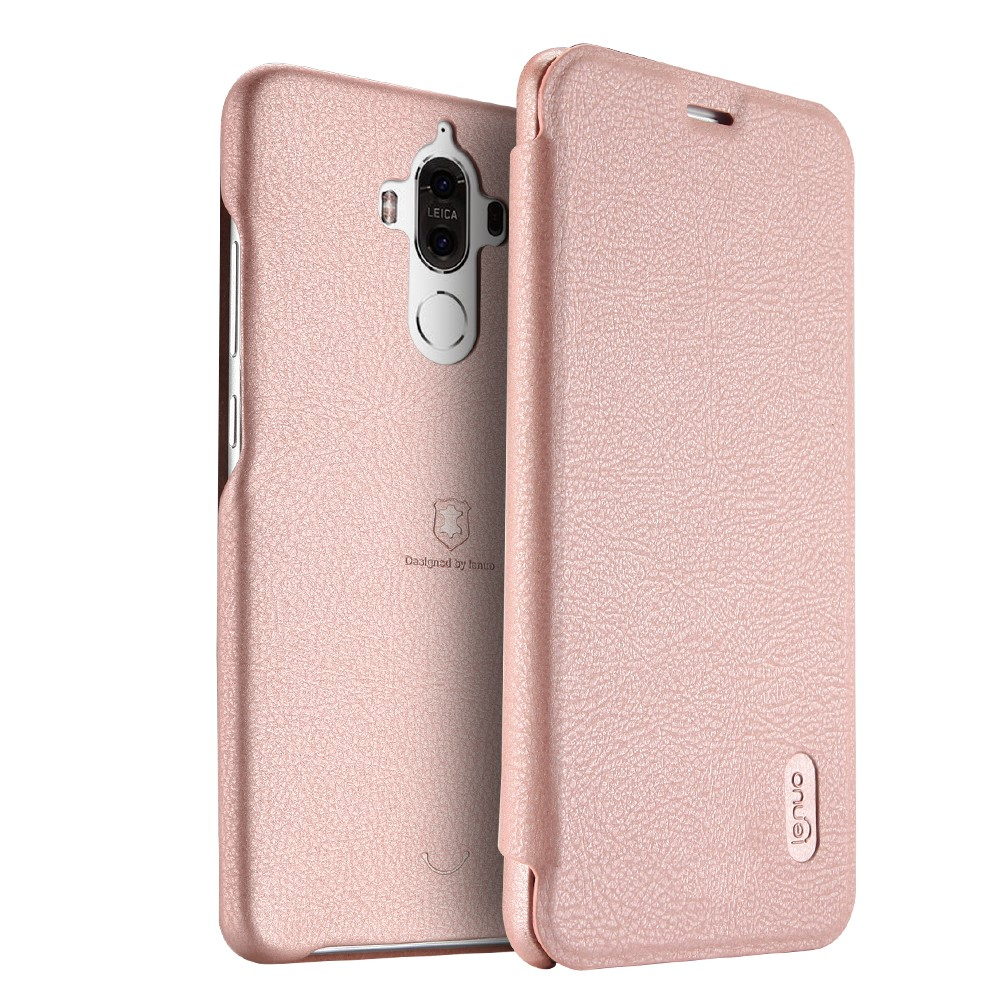 Image of   Huawei Mate 9 LENUO læder FlipCover - Pink