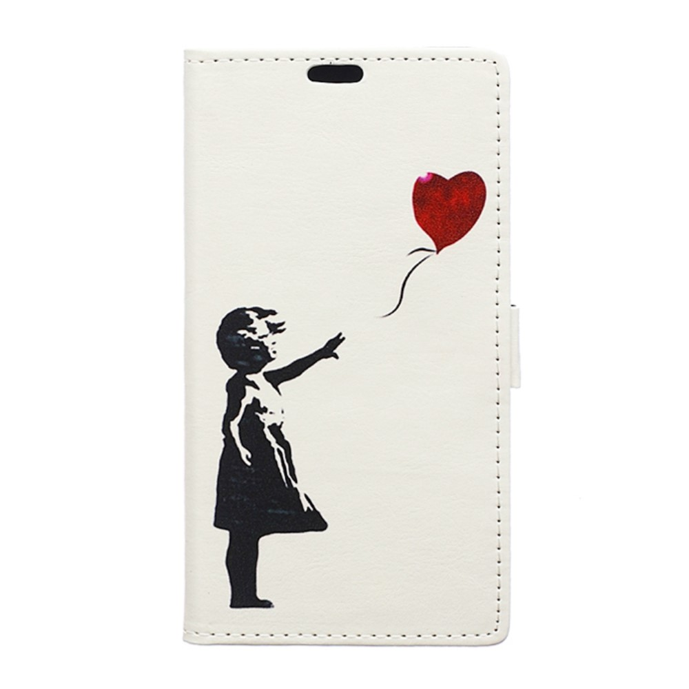 Image of   Huawei Mate 9 PU Læder Flip Cover Med Pung - Girl with Balloon