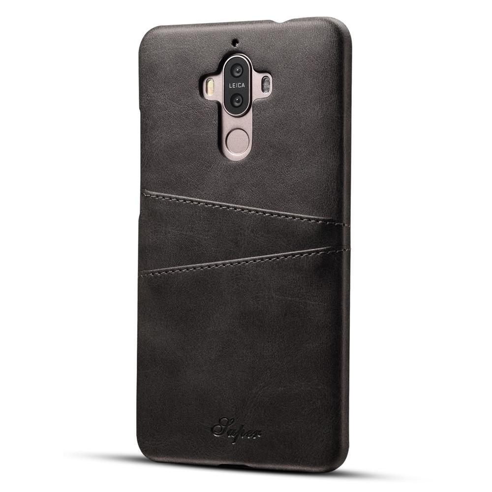 Image of   Huawei Mate 9 Plastik Cover m. PU læder og Kortholder - Sort
