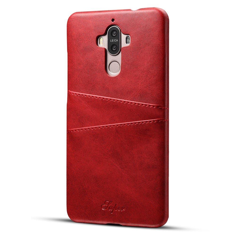 Image of   Huawei Mate 9 Plastik Cover m. PU læder og Kortholder - Rød