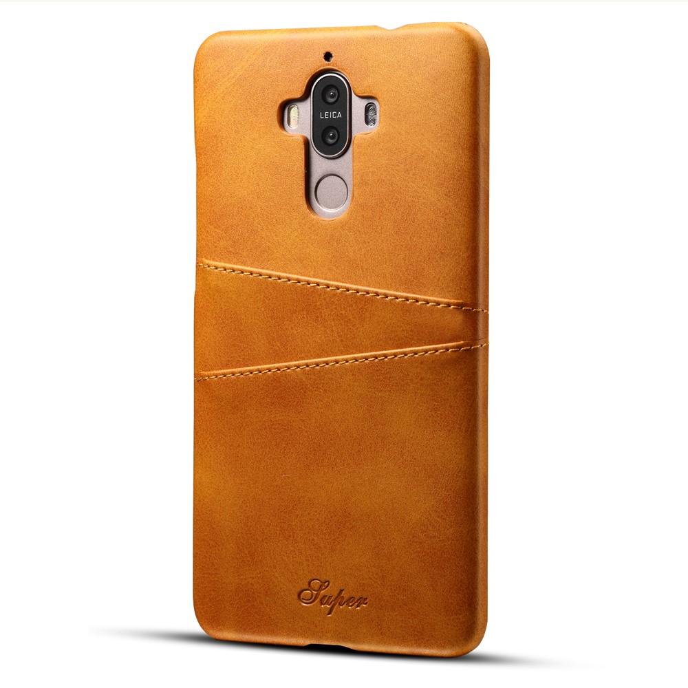 Image of   Huawei Mate 9 Plastik Cover m. PU læder og Kortholder - Gul