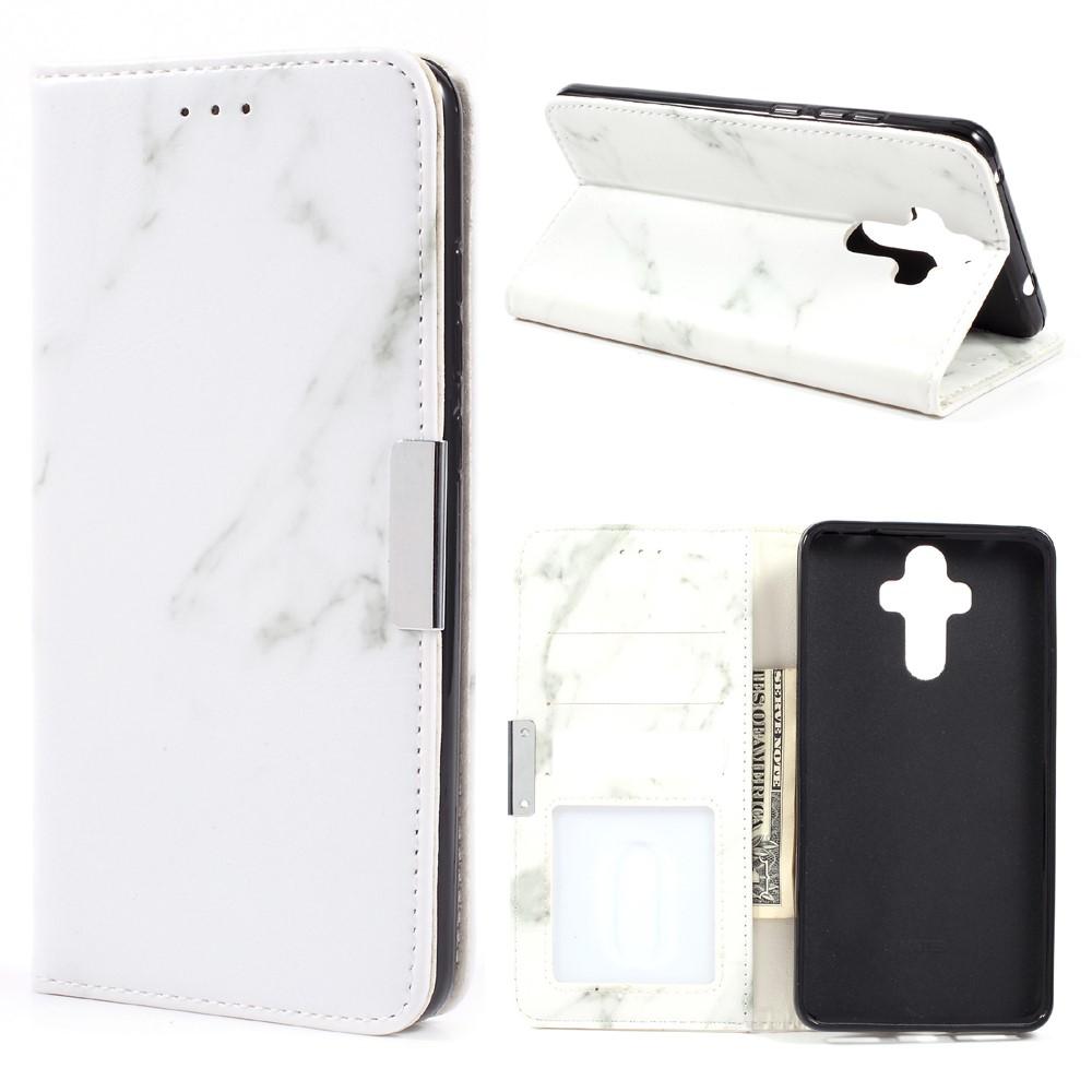 Image of   Huawei Mate 9 PU Læder Marmor Flip Cover - Hvid/grå