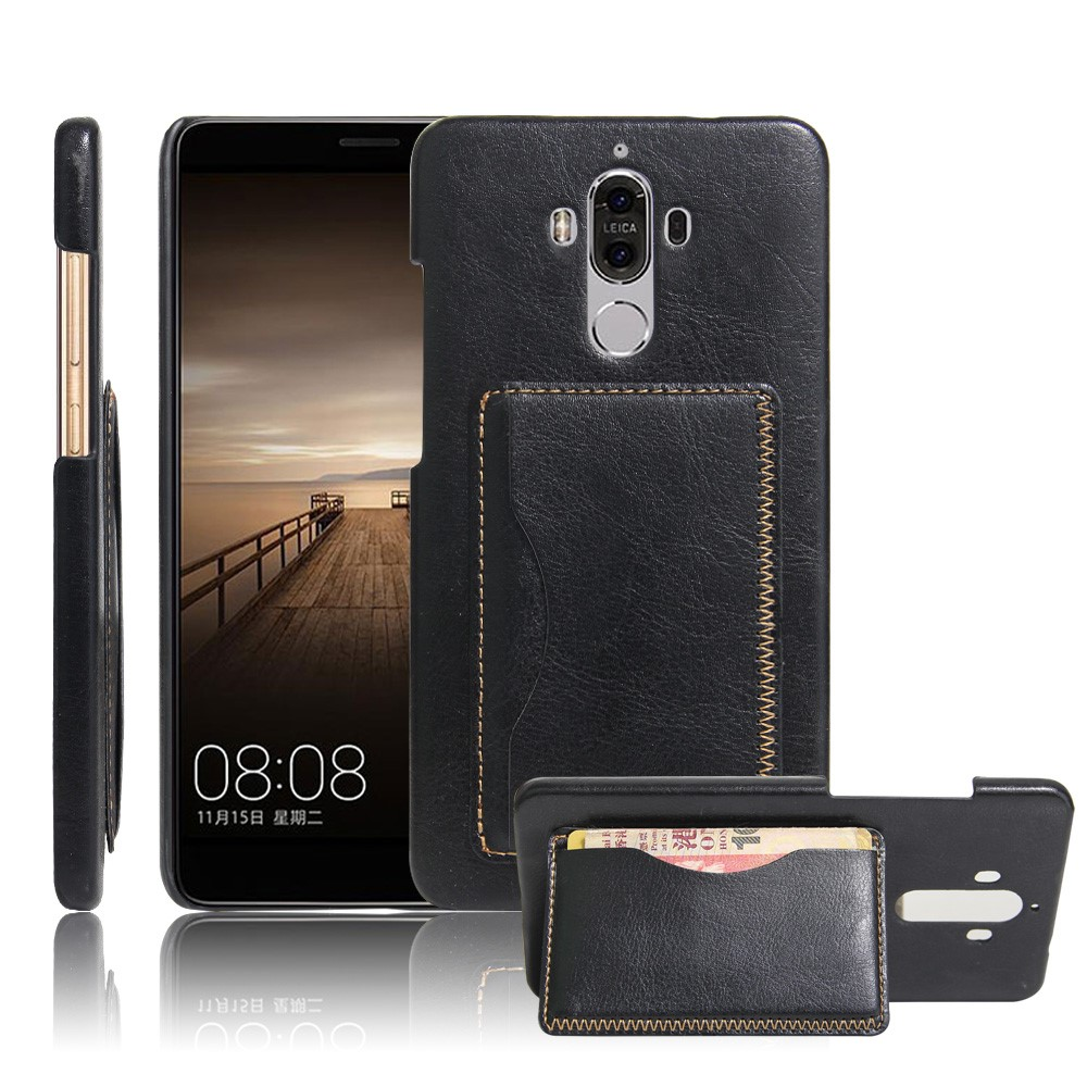 Image of   Huawei Mate 9 Læder Bagcover m. Stand - Sort