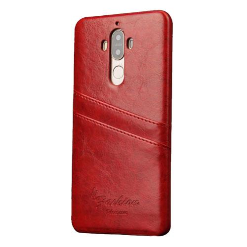 Image of   Huawei Mate 9 Læder Hard Case Cover m. Kortholder - Rød