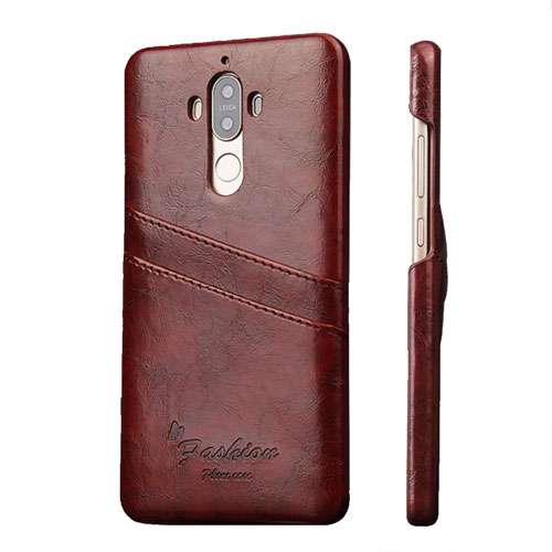 Image of   Huawei Mate 9 Læder Hard Case Cover m. Kortholder - Brun