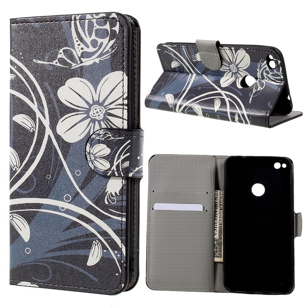Billede af Huawei Honor 8 Lite PU læder FlipCover m. Kortholder - Butterfly Flower