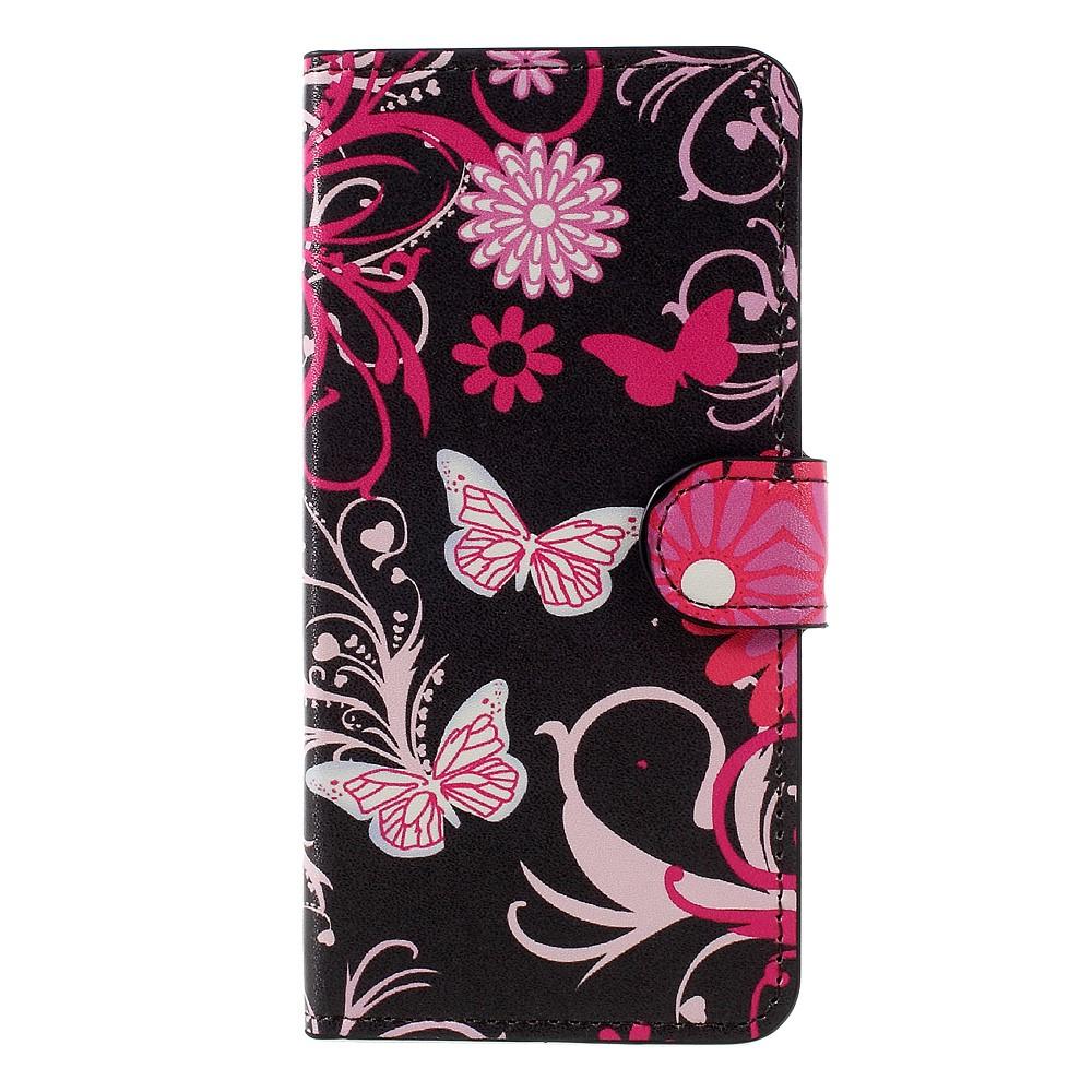 Billede af Huawei Honor 8 Lite PU læder FlipCover m. Kortholder - Floral Butterflies