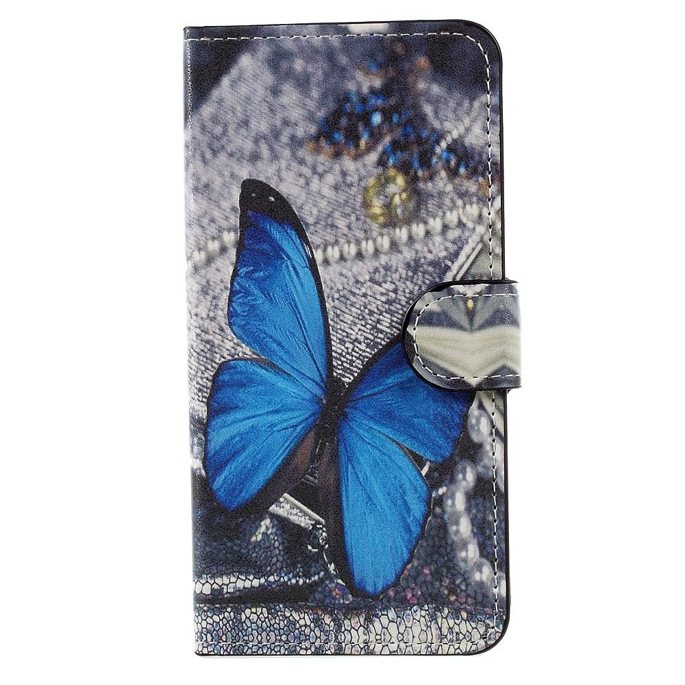 Billede af Huawei Honor 8 Lite PU læder FlipCover m. Kortholder - Blue Butterfly