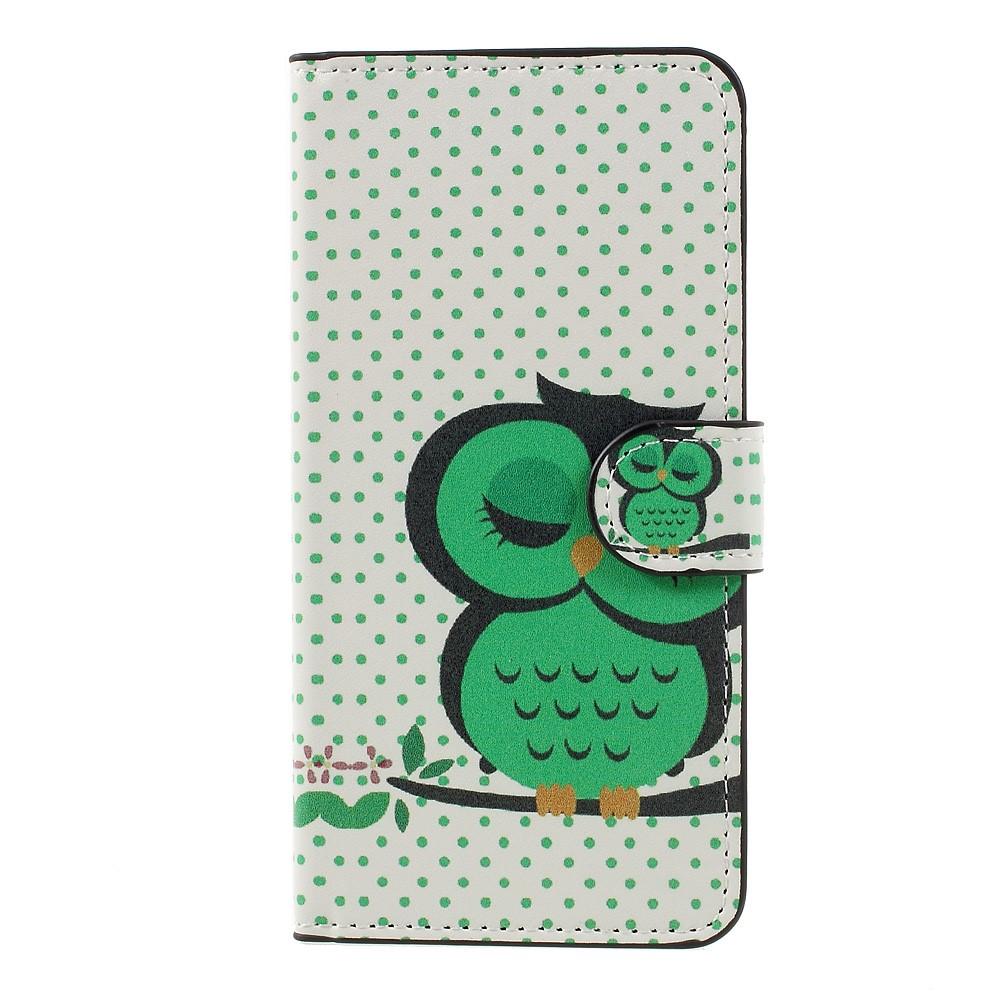 Billede af Huawei Honor 8 Lite PU læder FlipCover m. Kortholder - Green Owl