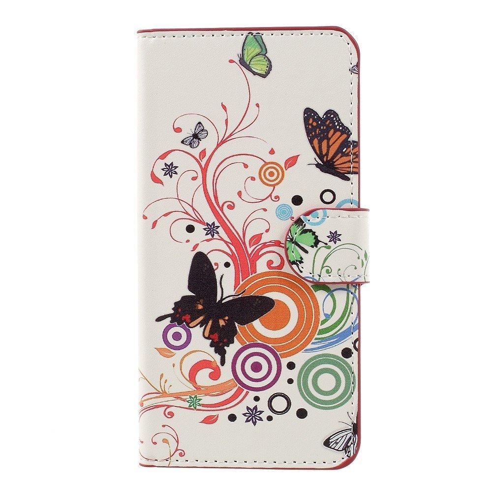 Billede af Huawei Honor 8 Lite PU læder FlipCover m. Kortholder - Butterflies and Circles