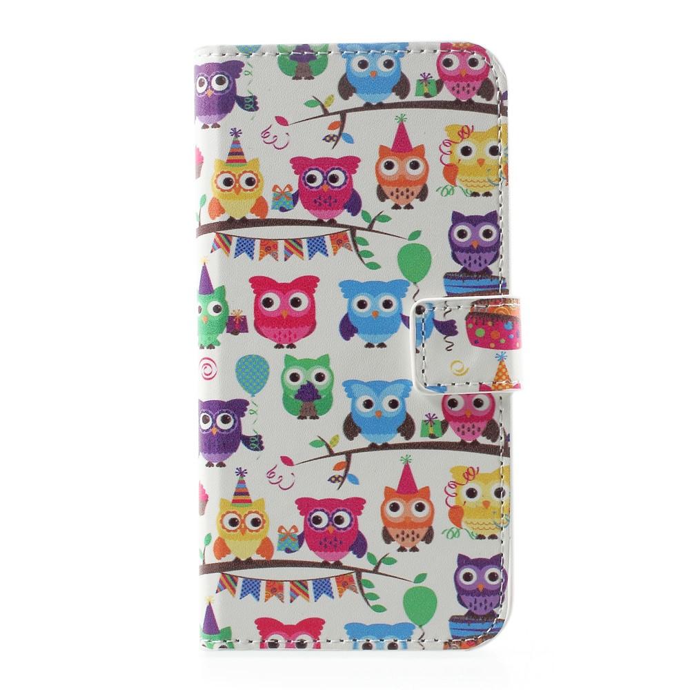 Billede af Huawei P10 PU læder FlipCover m. Kortholder - Colored Owls
