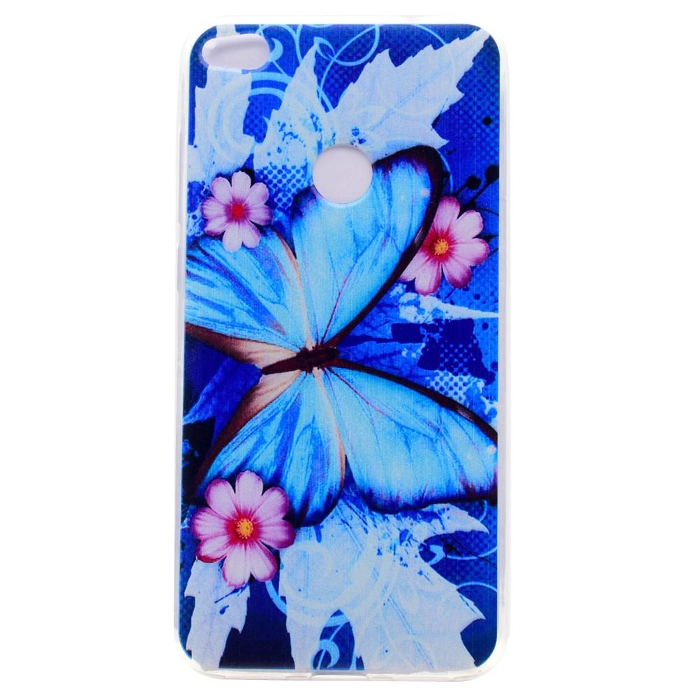 Billede af Huawei Honor 8 Lite InCover TPU Cover - Blå Sommerfugl