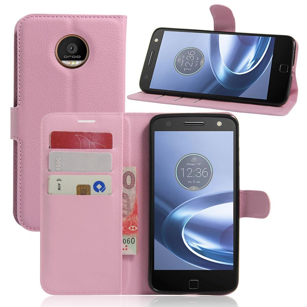 Image of Motorola Moto Z Play PU læder FlipCover m. Kortholder - Pink
