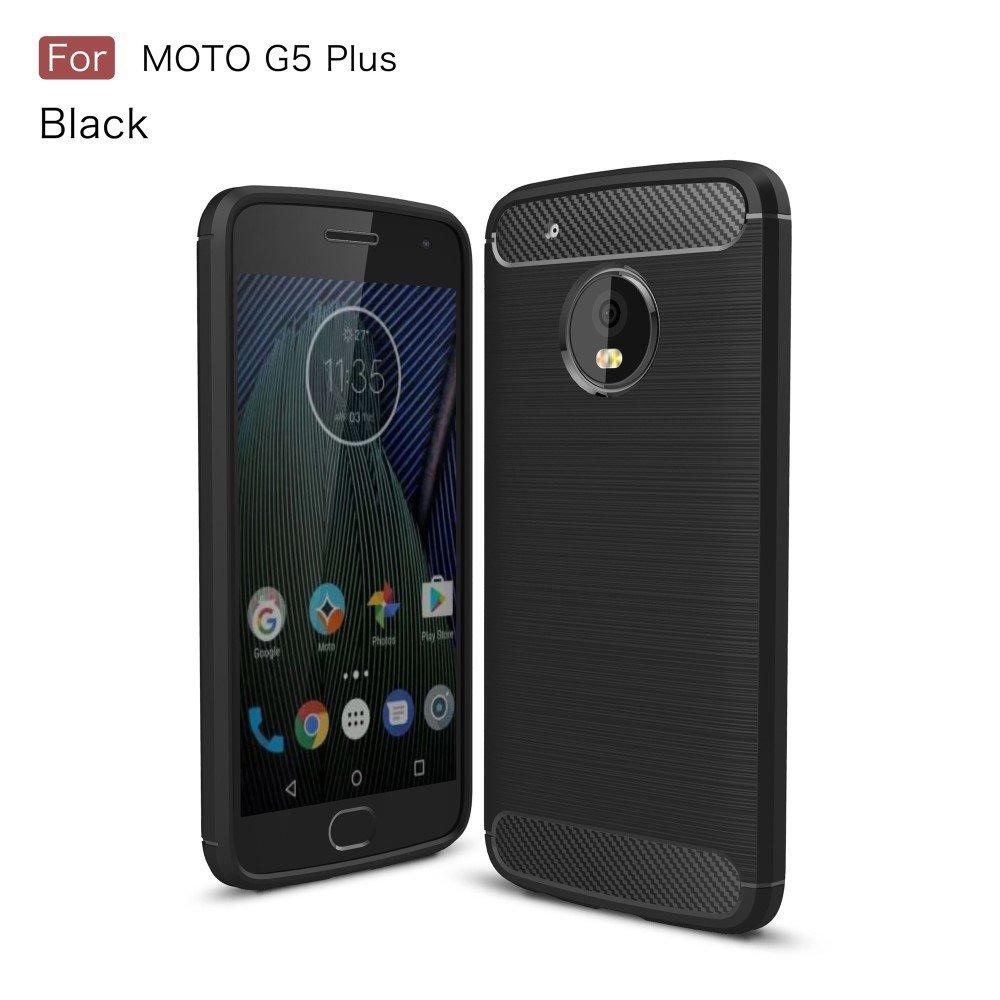 Billede af Motorola Moto G5 Plus InCover Brushed TPU Cover - Sort Carbon
