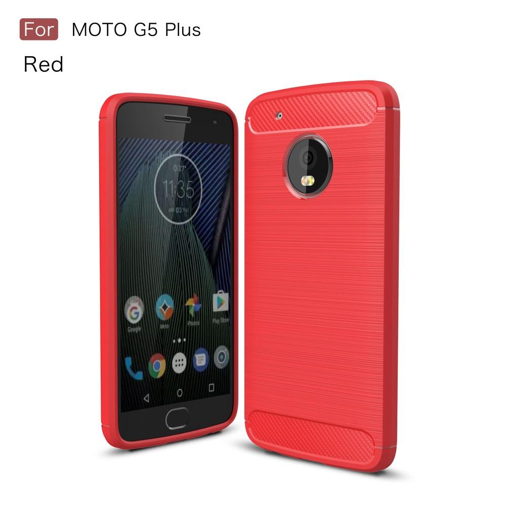 Billede af Motorola Moto G5 Plus InCover Brushed TPU Cover - Rød Carbon