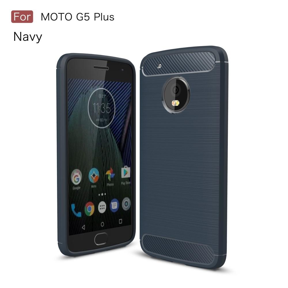 Billede af Motorola Moto G5 Plus InCover Brushed TPU Cover - Mørk Blå Carbon