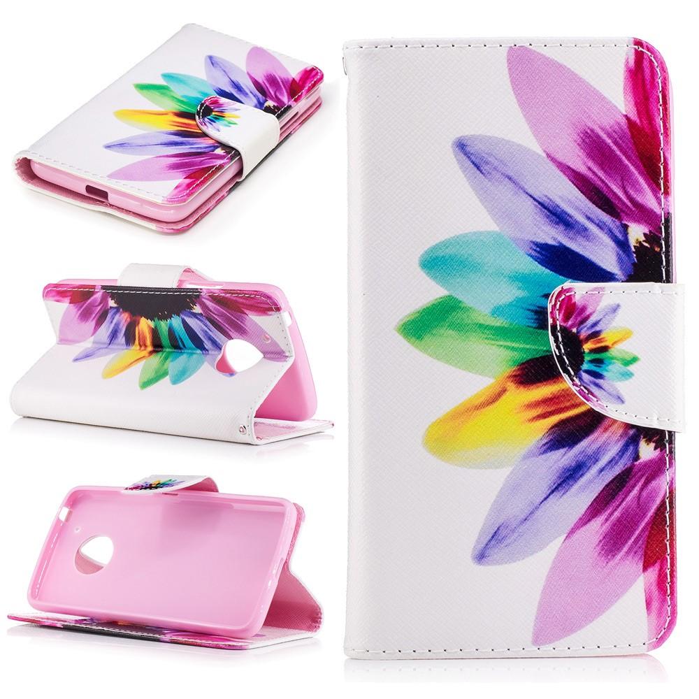 Billede af Motorola Moto G5 PU læder Flipcover m. Kortholder - Flower