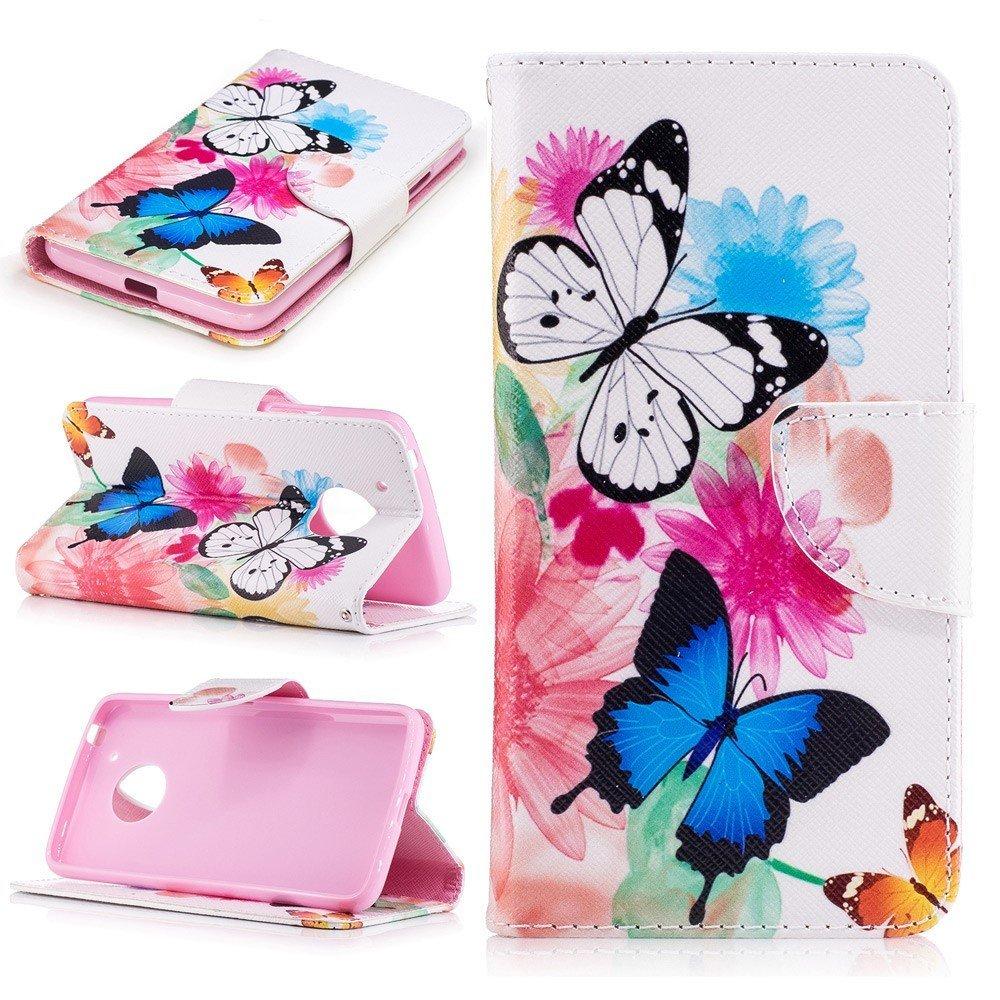 Billede af Motorola Moto G5 PU læder Flipcover m. Kortholder - Vivid Butterflies