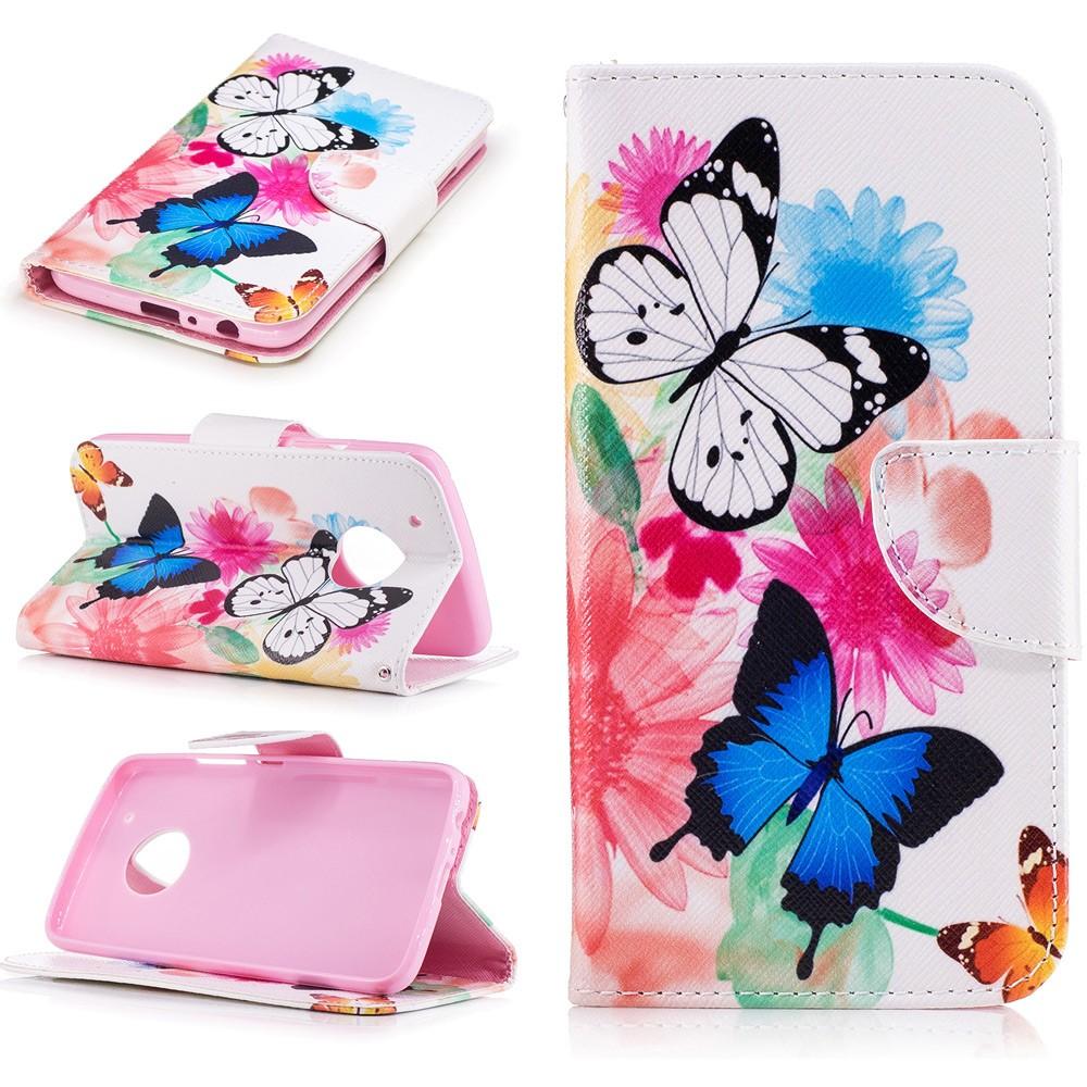 Billede af Motorola Moto G5 Plus PU læder Flipcover m. Kortholder - Vivid Butterflies