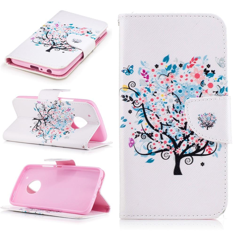Billede af Motorola Moto G5 Plus PU læder Flipcover m. Kortholder - Tree and Butterflies