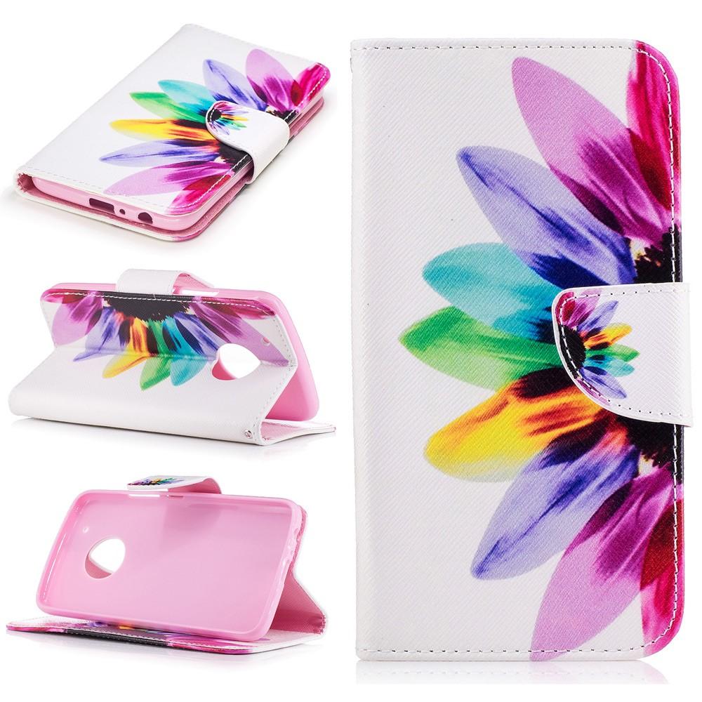 Billede af Motorola Moto G5 Plus PU læder Flipcover m. Kortholder - Flower