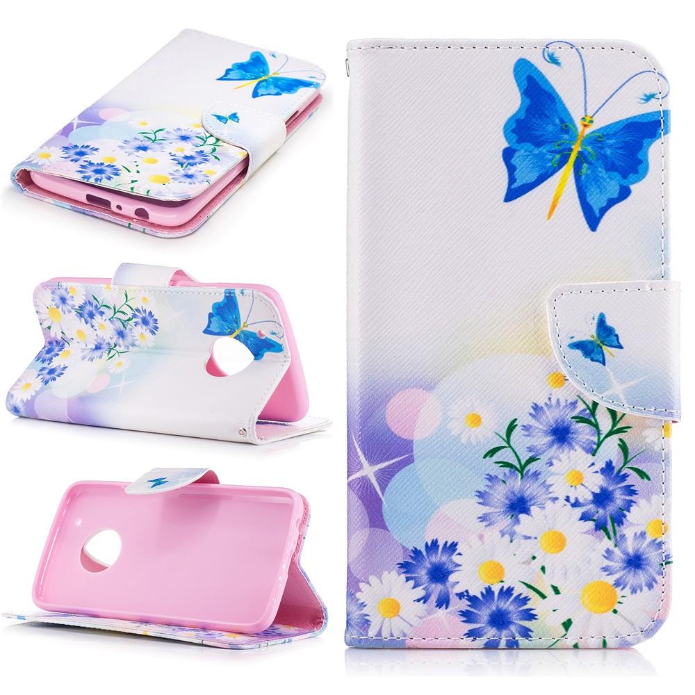 Billede af Motorola Moto G5 Plus PU læder Flipcover m. Kortholder - Flowers and Butterflies