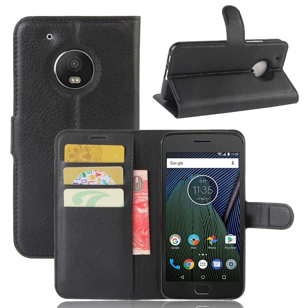 Billede af Motorola Moto G5 Plus PU læder Flipcover m. Kortholder - Sort