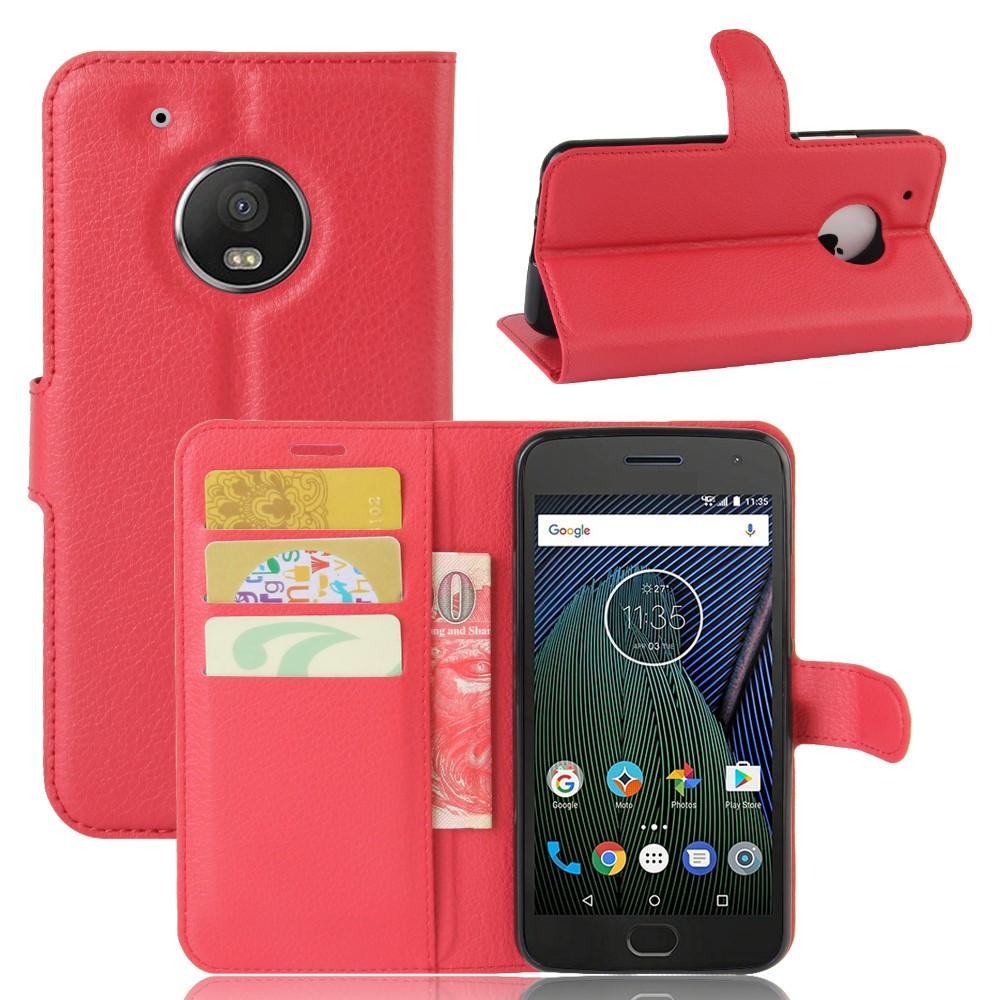 Billede af Motorola Moto G5 Plus PU læder Flipcover m. Kortholder - Rød