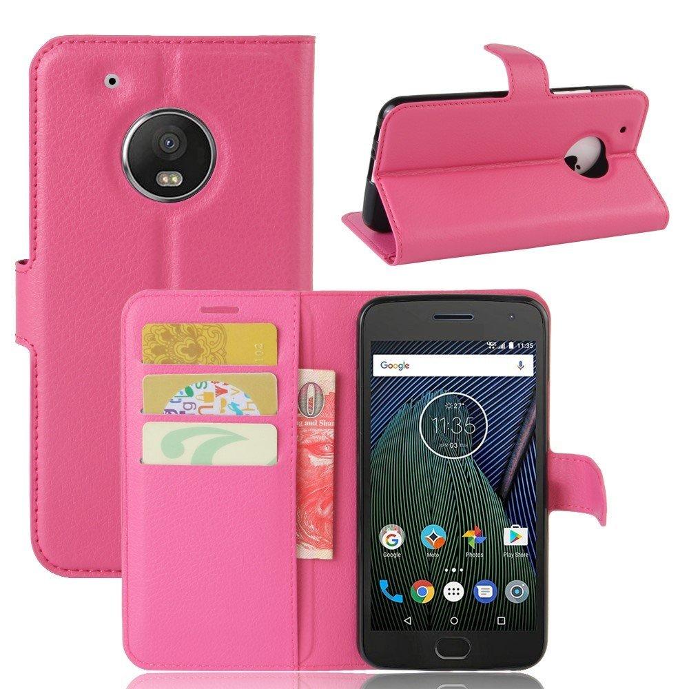Billede af Motorola Moto G5 Plus PU læder Flipcover m. Kortholder - Rosa