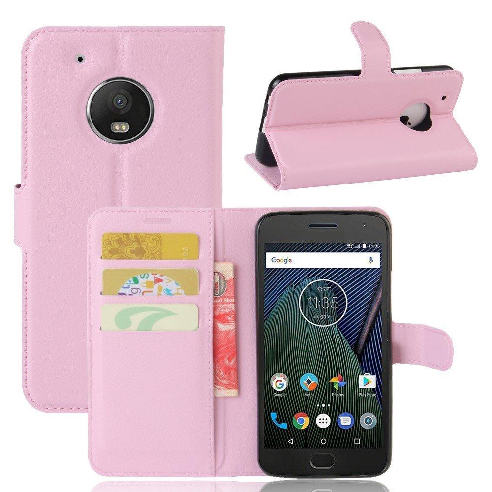 Billede af Motorola Moto G5 Plus PU læder Flipcover m. Kortholder - Lyserød