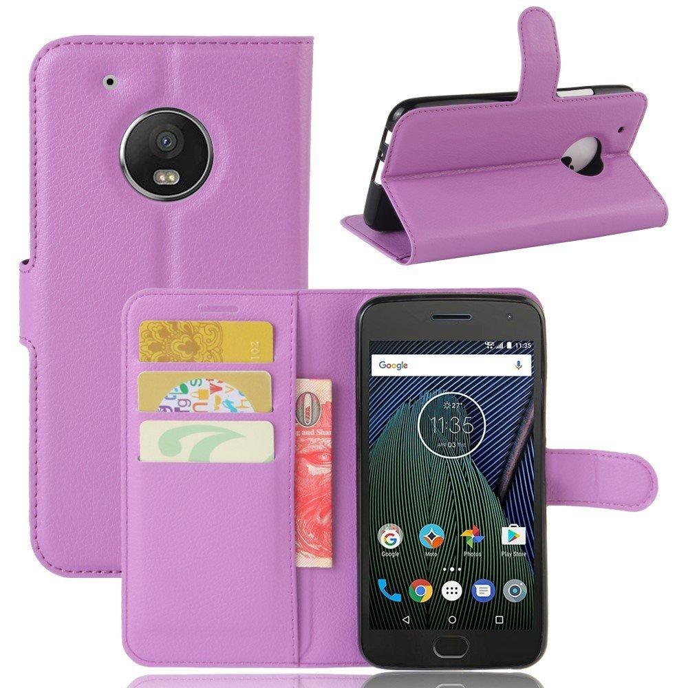 Billede af Motorola Moto G5 Plus PU læder Flipcover m. Kortholder - Lilla