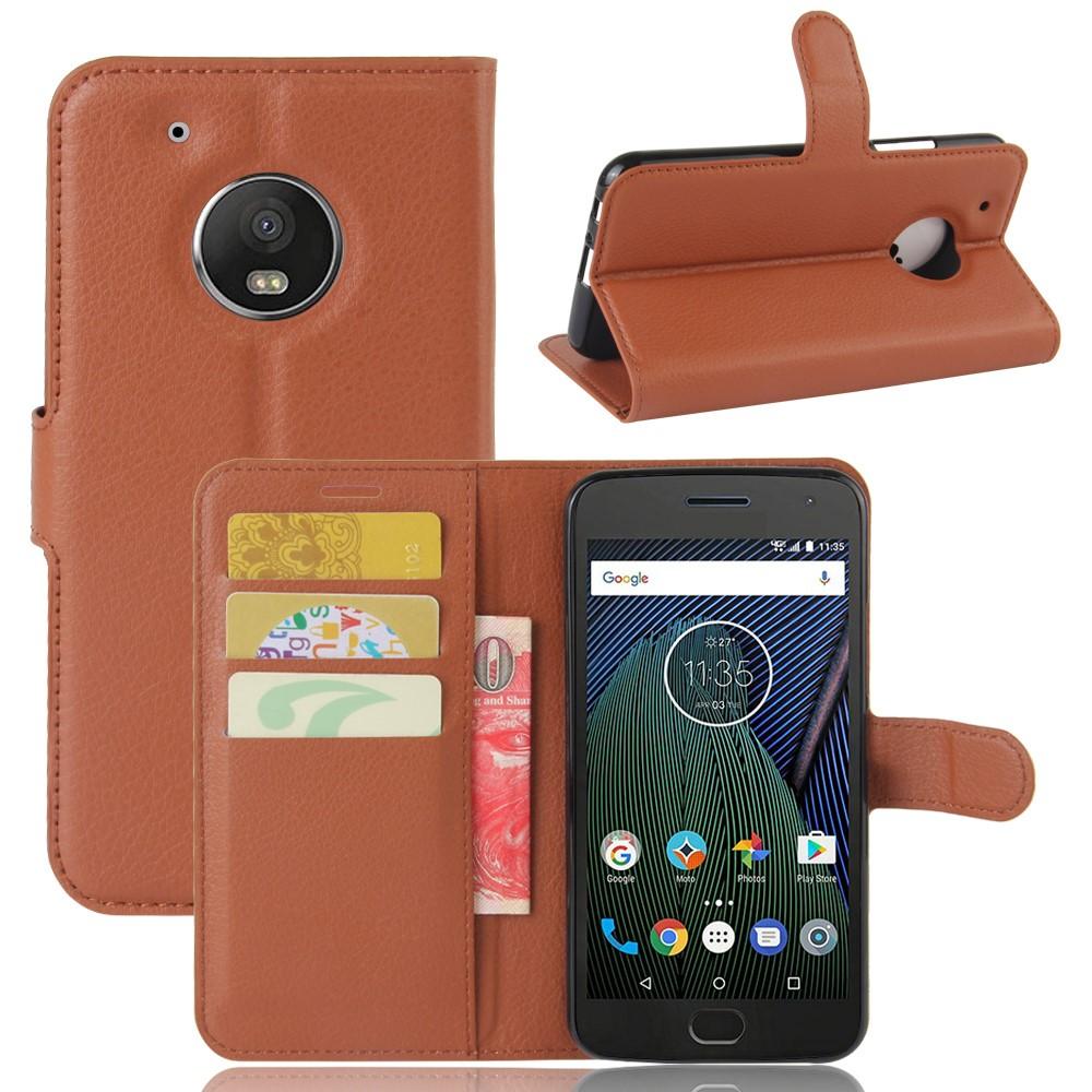 Billede af Motorola Moto G5 Plus PU læder Flipcover m. Kortholder - Brun