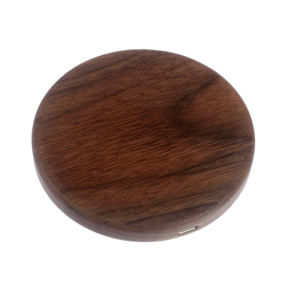 Image of Universal Trådløs QI Lader i Trælook til bl.a. iPhone og Samsung - Mørk brun