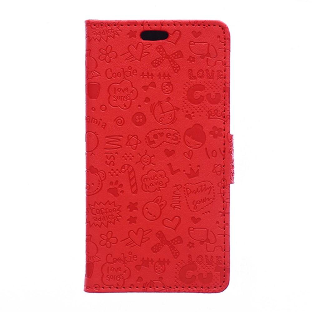 Image of Microsoft Lumia 550 Cartoon Flip Cover m. Pung - Rød