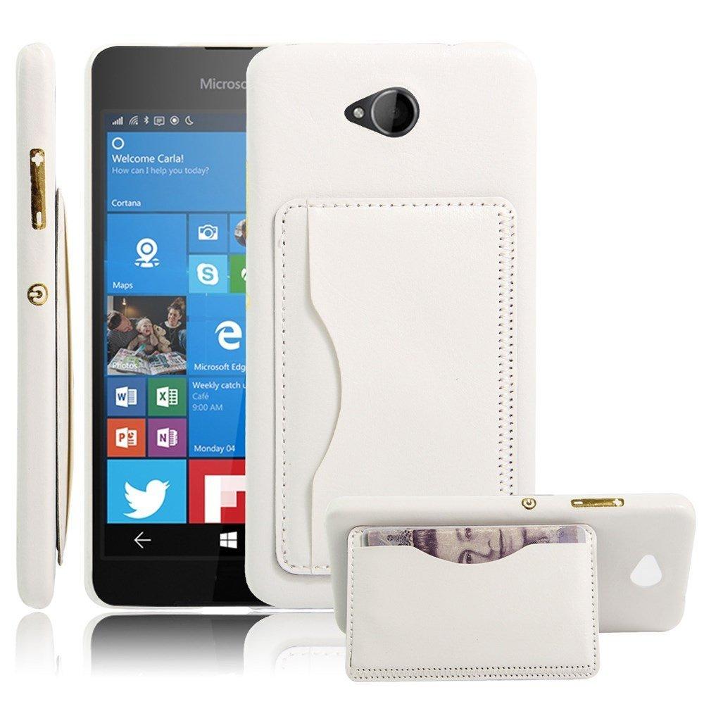 Image of Microsoft Lumia 650 Læder Bagcover m. kortholder - Hvid